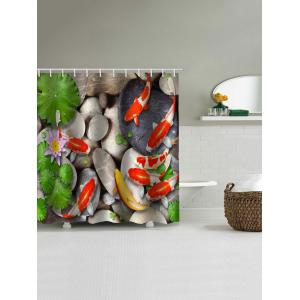 Pond Fishes Scenery Print Bathroom Shower Curtain -