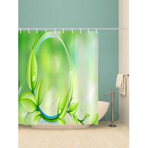 Branch Leaf Print Waterproof Bathroom Shower Curtain -
