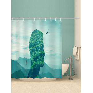 Face In Mountains Print Waterproof Bathroom Shower Curtain -