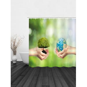 Protect Earth Print Waterproof Bathroom Shower Curtain -
