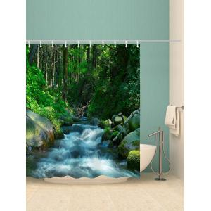 Stream In The Forest Print Waterproof Bathroom Shower Curtain -