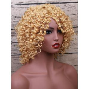 Short Inclined Bang Wavy Party Human Hair Wig -