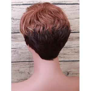 Short Inclined Bang Layered Straight Colormix Human Hair Wig -