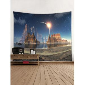 Mountains Lake Starry Night Sky Printed Tapestry  Wall Art -