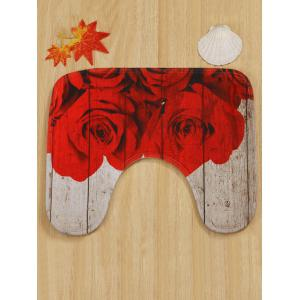 Red Rose Wood Grain Print Bath Rug Set 3Pcs -