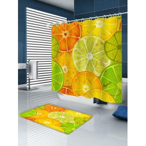 Vivid Lemon Slices Pattern Bath Curtain -