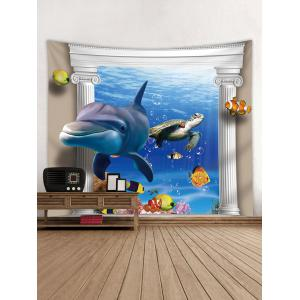 3D Underwater World Dolphin Print Tapestry -
