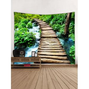 Log Bridge Stream Patter Wall Art Tapestry -