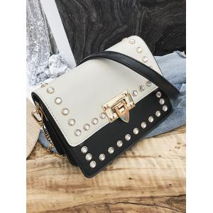 Faux Diamond Inlaid Vintage Pattern Chain Crossbody Bag -