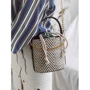 Woven Strawstring Inner Pocket Chain Crossbody Bucket Bag -