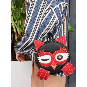 Owl Pattern PU Leather Paillette Patchwork Crossbody Bag -
