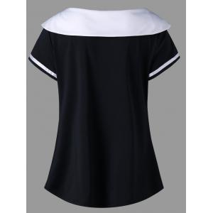 Plus Size Doll Collar Two Tone T-shirt -