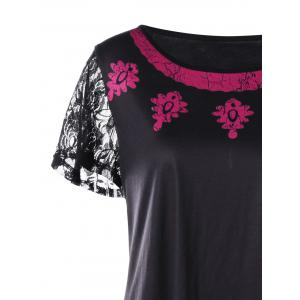 Plus Size Lace Trim Contrast Print T-shirt -