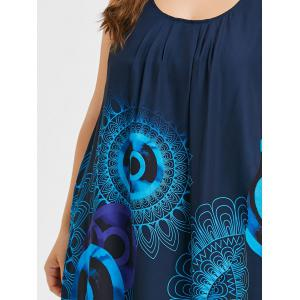 Plus Size Sleeveless Ethnic Print Overlap Dress -