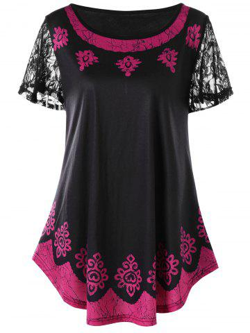 Chic Plus Size Lace Trim Contrast Print T-shirt