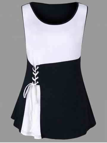 New Plus Size Two Tone Lace Up Tank Top