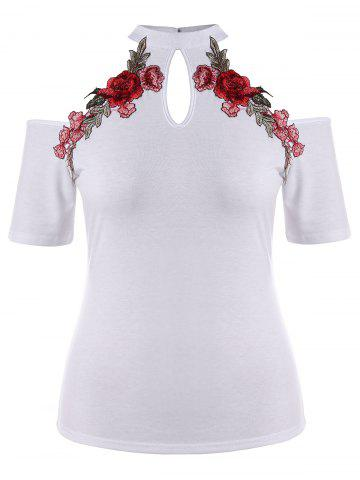 Unique Plus Size Open Shoulder Embroidery T-shirt