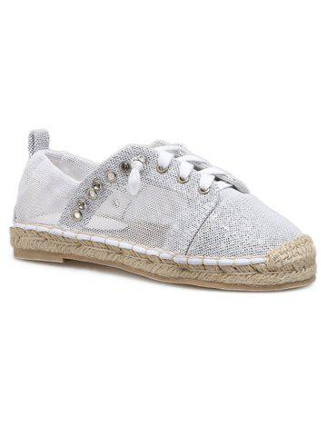 Fancy Flat Heel Crystal Lace Up Loafers