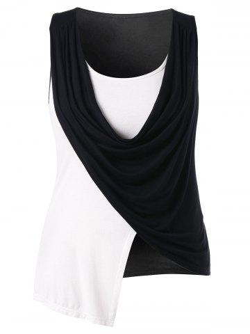 Best Plus Size Cowl Neck Asymmetric Tank Top