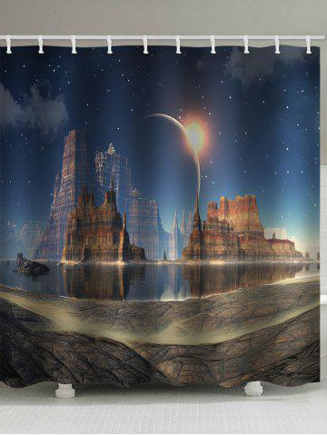 Latest Rock Castle Planet Print Shower Curtain