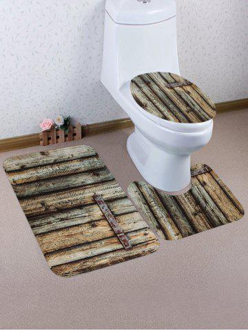 Hot Vintage Wood Texture Print Bathroom Rug Set 3Pcs