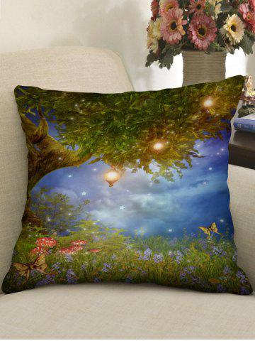 Best Tree and Flowers Print Decorative Sofa Pillowcase