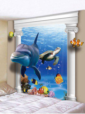 Latest 3D Underwater World Dolphin Print Tapestry