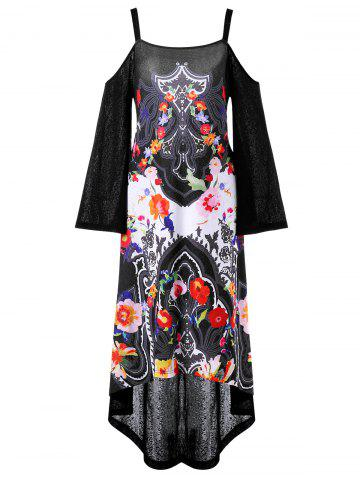 Asymmetrical Open Shoulder Printed Party Dress