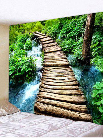 Trendy Log Bridge Stream Patter Wall Art Tapestry