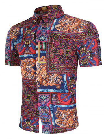 Trendy Allover Tribal Flower Print Button Up Shirt