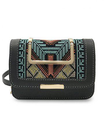 Outfit Color Block Embroidery Personalized  Crossbody Bag