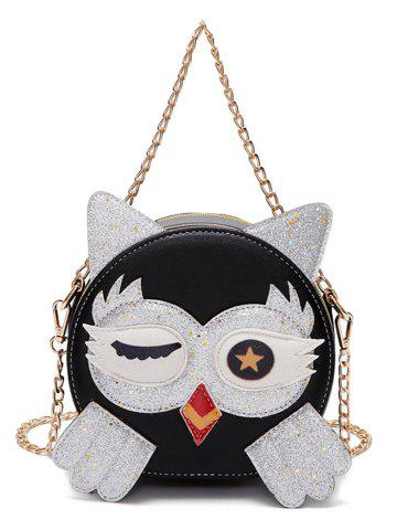 Affordable Owl Pattern PU Leather Paillette Patchwork Crossbody Bag