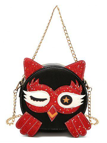 Outfit Owl Pattern PU Leather Paillette Patchwork Crossbody Bag
