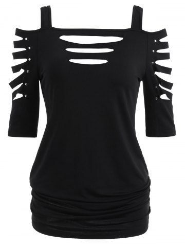 Chic Cold Shoulder Ripped Sleeve T-shirt
