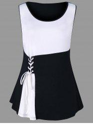 Plus Size Two Tone Lace Up Tank Top -