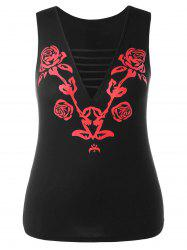 Plunge Cut Out Floral Tank Top -