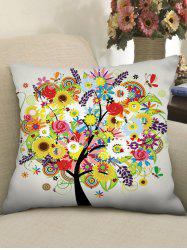 Flower Tree Print Decorative Linen Sofa Pillowcase -