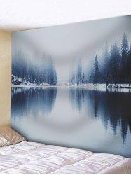 Winter Lake Landscape Pattern Wall Art Tapestry -