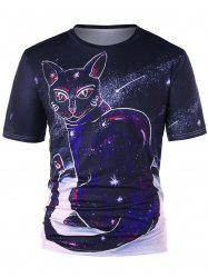Mysterious Cat Print T-shirt -