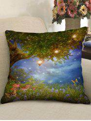 Tree and Flowers Print Decorative Sofa Pillowcase -