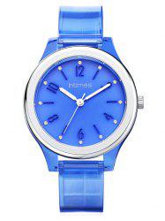 Blue Transparent PU Case and Strap Waterproof Watch -