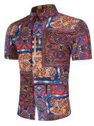Allover Tribal Flower Print Button Up Shirt -