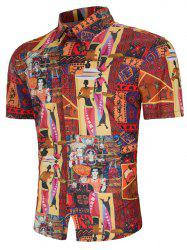 Tribal African Women Print Button Up Shirt -