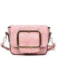 Buckle Closure Lace Decoration PU Leather Crossbody Bag -