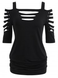 Cold Shoulder Ripped Sleeve T-shirt -