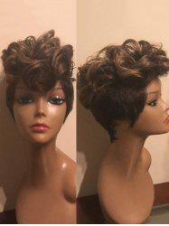 Short Inclined Bang Two Tone Colormix Slightly Curly Synthetic Wig -