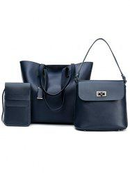 3 Pieces Classic PU Leather Tote Bag Shoulder Bag and Phone Crossbody Bag -