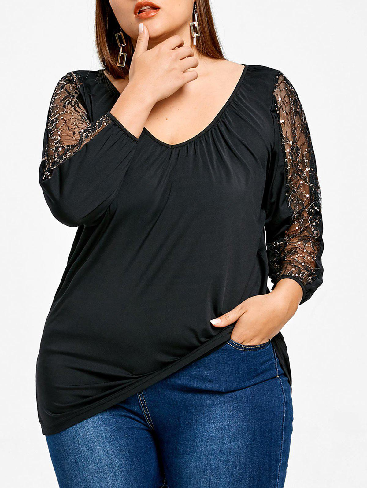 Buy Sequined Sleeve Plus Size Fitted T-shirt