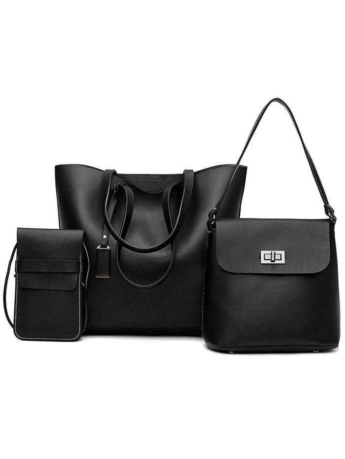 Shops 3 Pieces Classic PU Leather Tote Bag Shoulder Bag and Phone Crossbody Bag