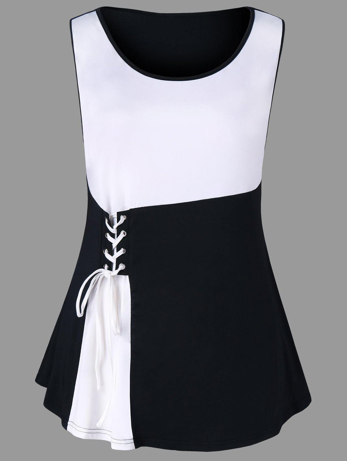 Online Plus Size Two Tone Lace Up Tank Top